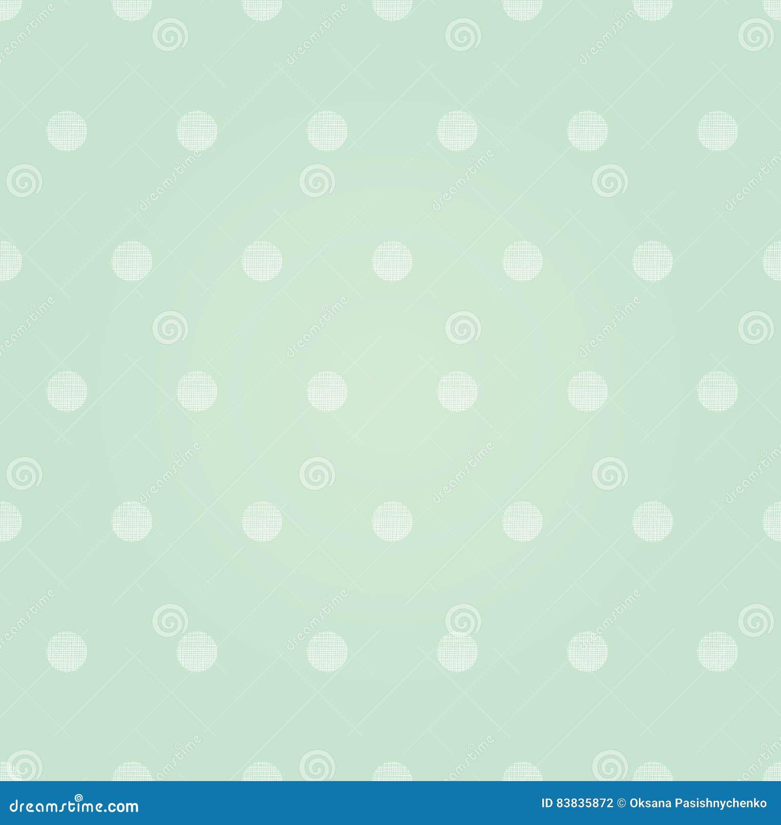 Blush Nursery With Neutral Textures: Vector Vintage Mint Green Polka Dots Circles Seamless