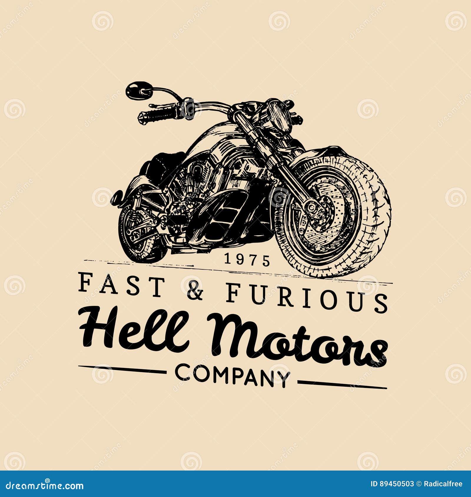 Vector vintage motorcycle logo.Biker store icon,MC sign, custom garage poster.Illustration of hand drawn classic chopper