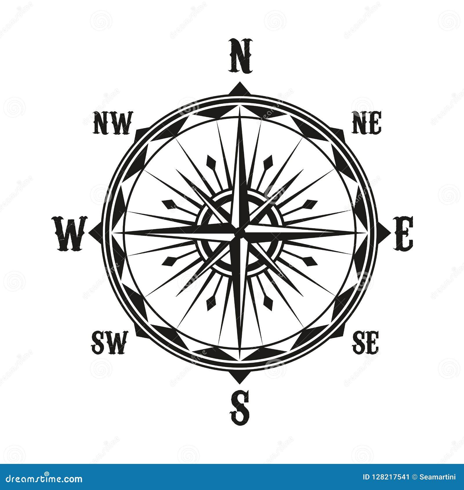 Vector Vintage Navigation Compass Symbol Stock Vector Illustration