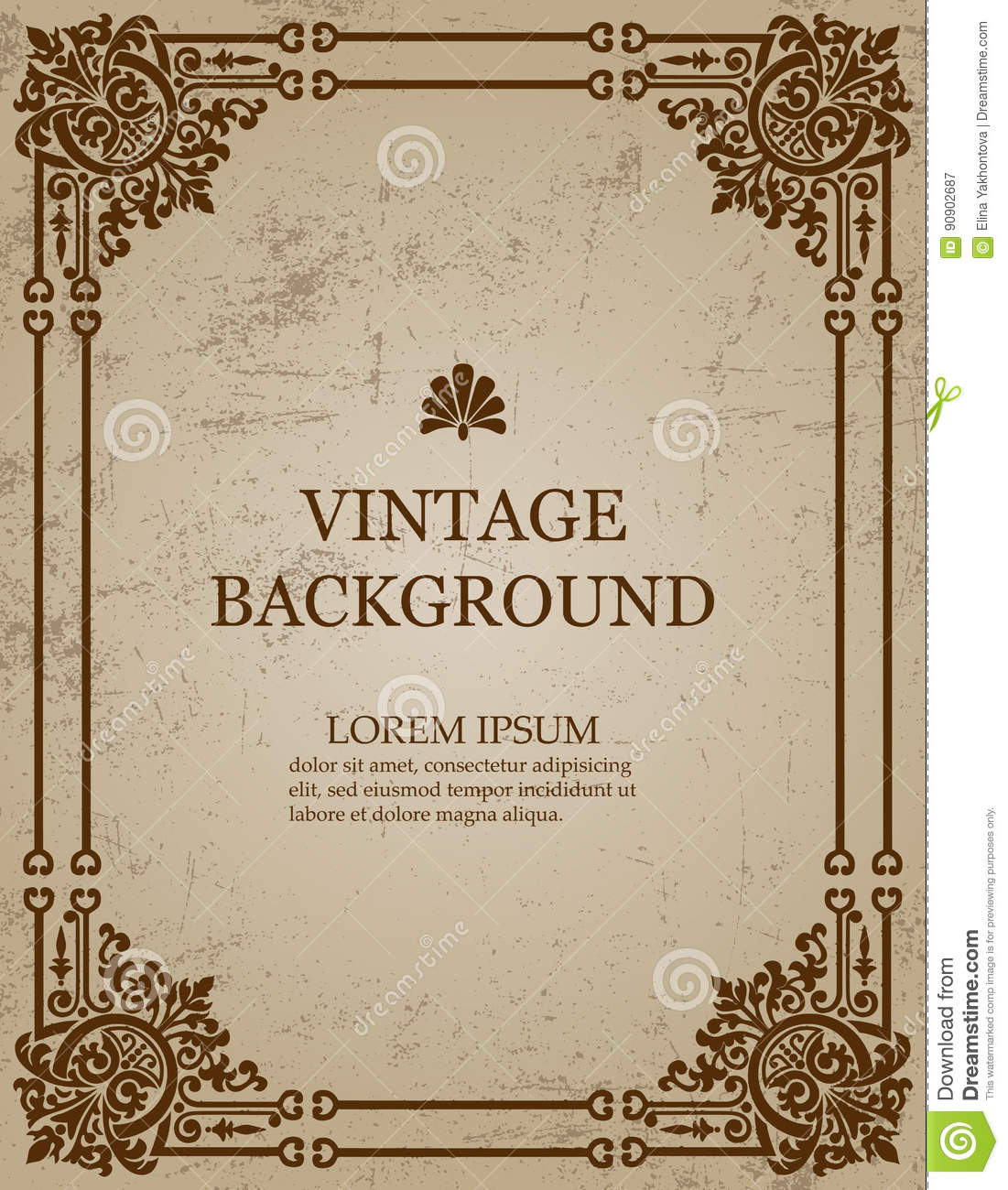 Paper Book Cover Template : Vector vintage old paper background with royal pattern