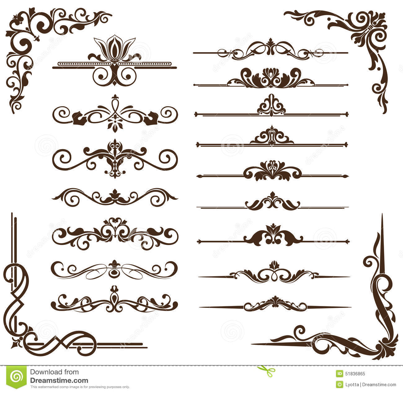 Vector vintage ornaments corners borders stock vector for Art et decoration download