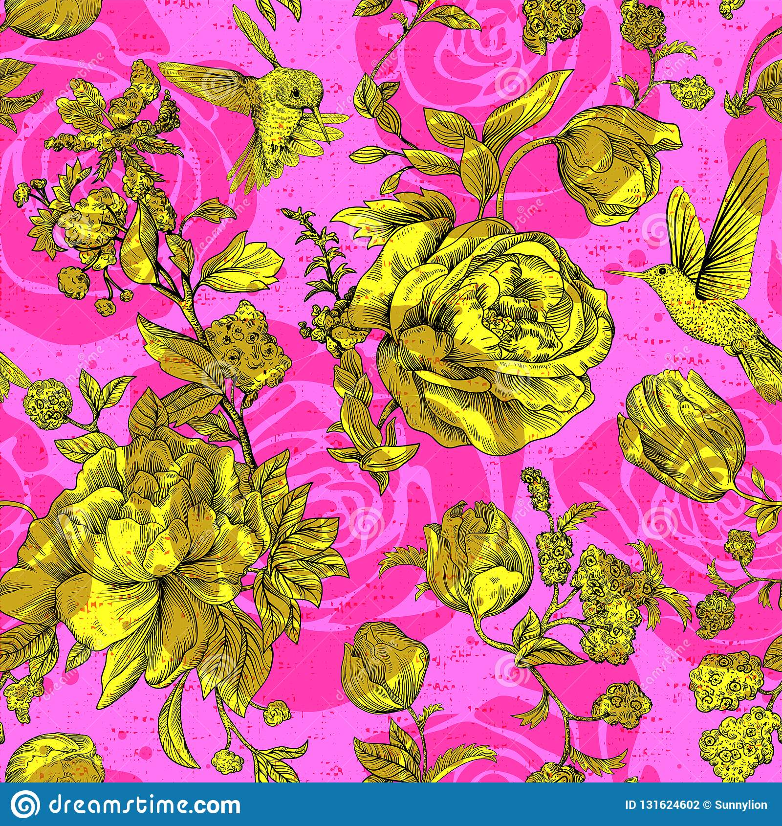 Vector Vintage Pattern With Roses And Peonies Retro Floral
