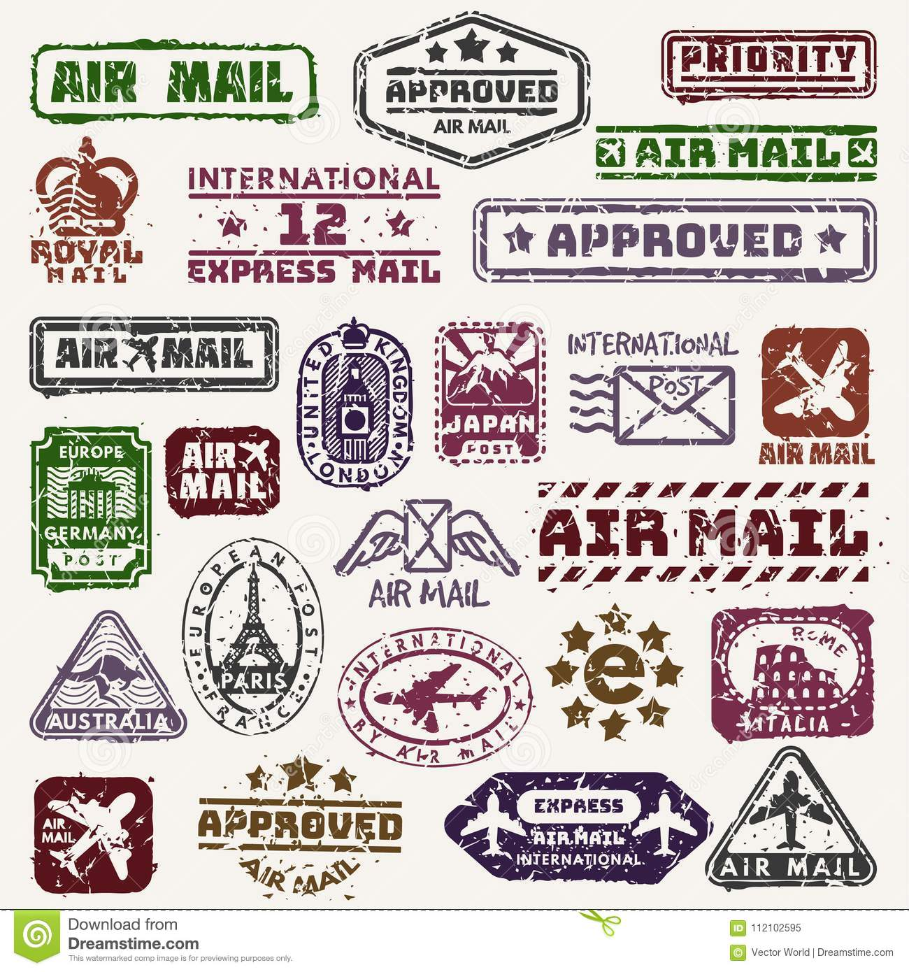 graphic about Printable Postage Stamps named Vector Typical Postage Deliver Stamps Retro Transport Badge