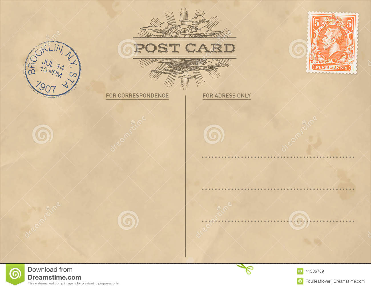 Vector Vintage Postcard Template Stock Vector Illustration Of - Postcard template free download