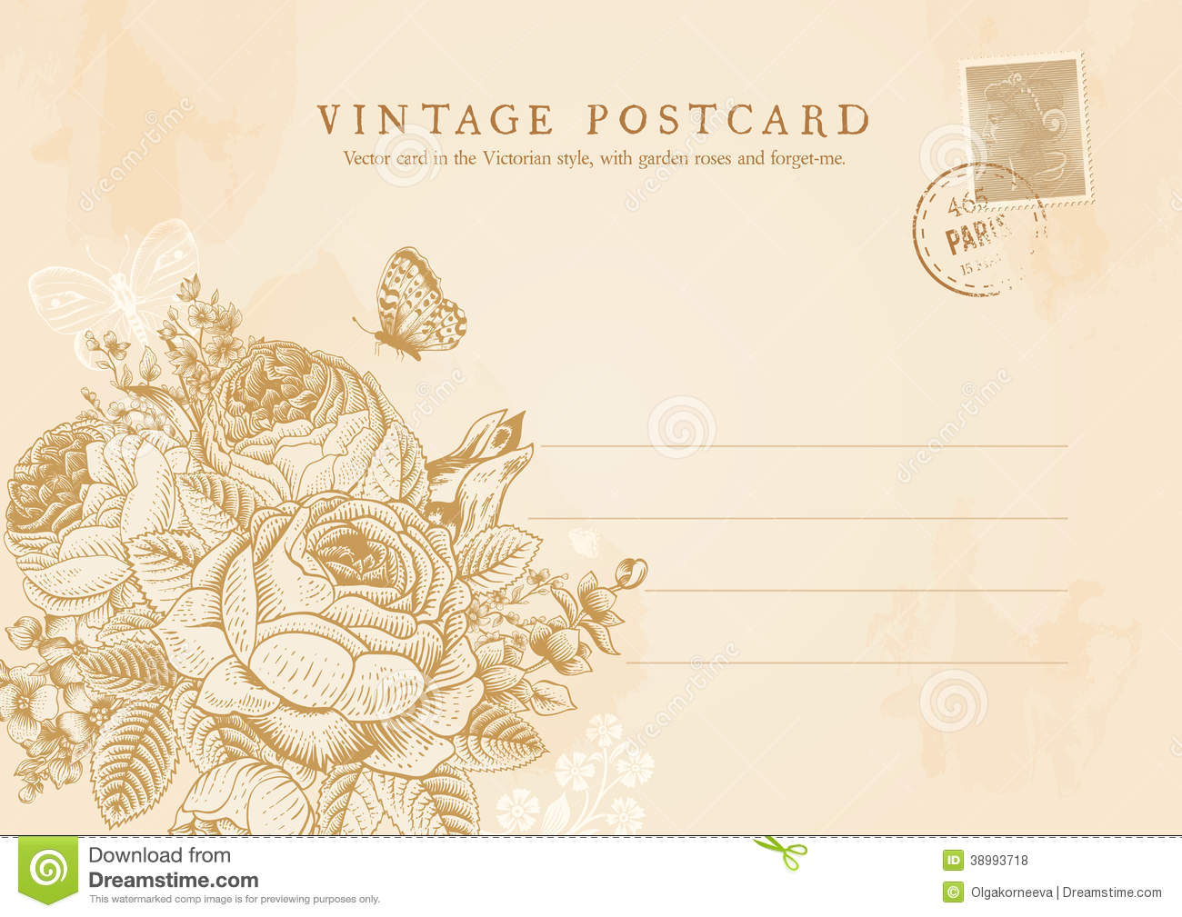 Vector Vintage Postcard In Victorian Style. Stock Vector ...