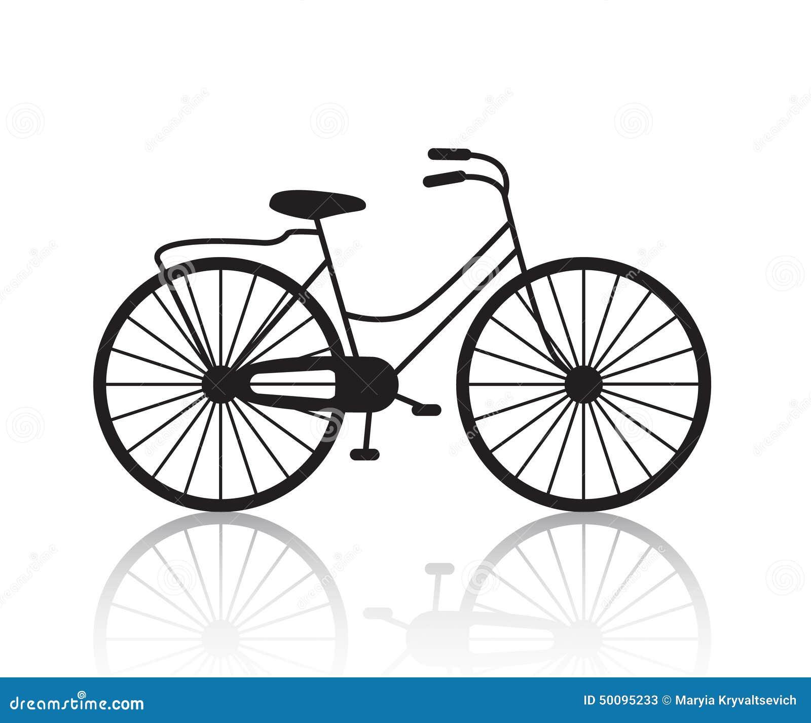 Vector Vintage Retro Bicycle Silhouette, Icon Stock Vector