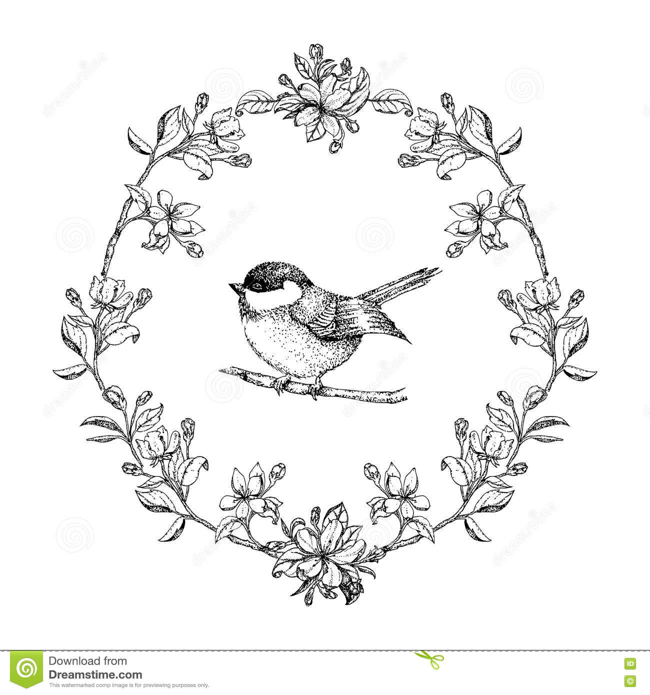 Frame With Birds And Apple Flowers. Floral Wreath. Black And White ...