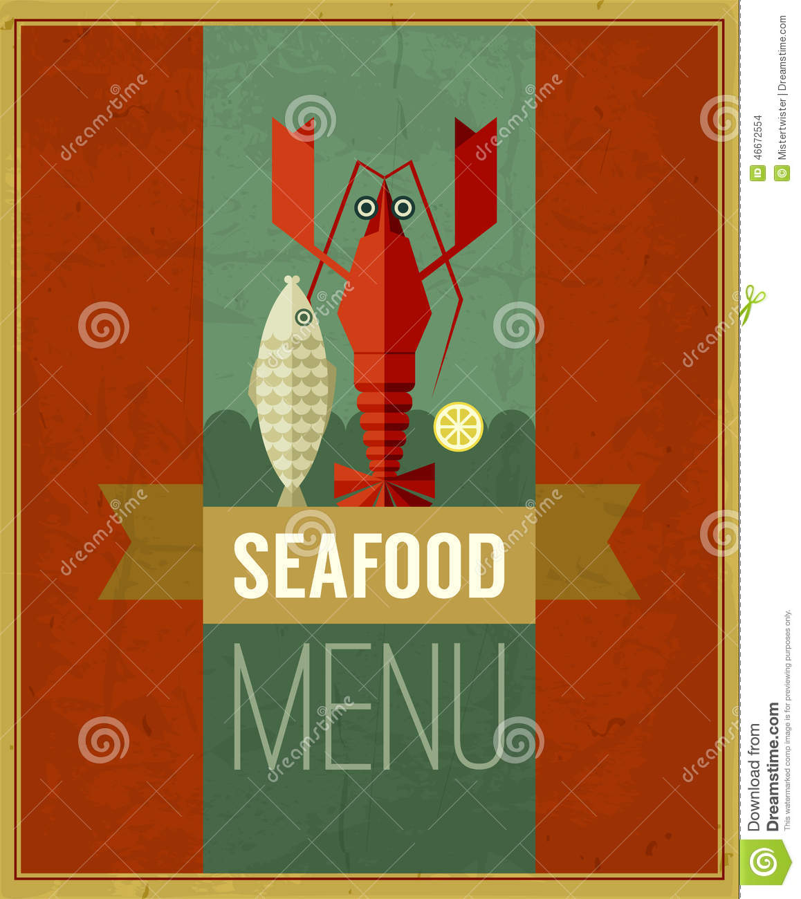 Vector vintage seafood menu poster with fish lobster and for Max fish menu