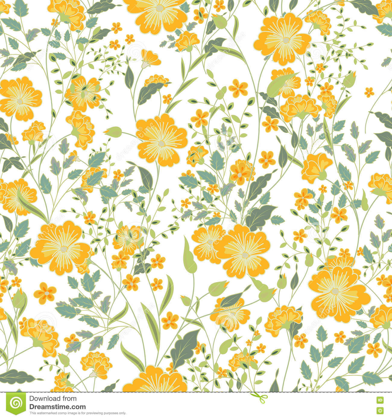 Vector Vintage Seamless Floral Pattern Herbs And Wild Flowers