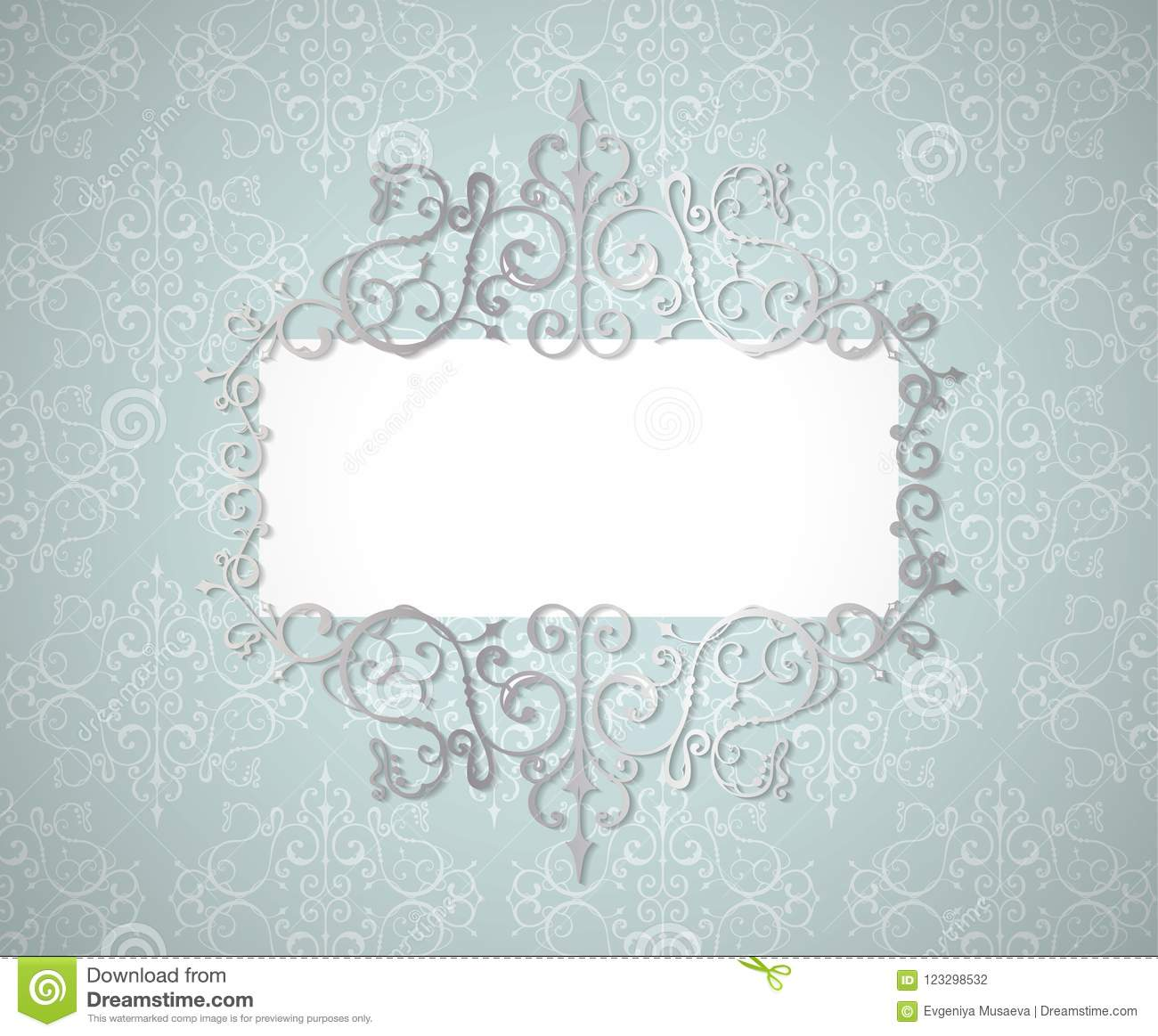 Swirl Borders For Wedding Invitations: Vector Vintage Silver Swirl Frame Whith Shadow Efect. Lase