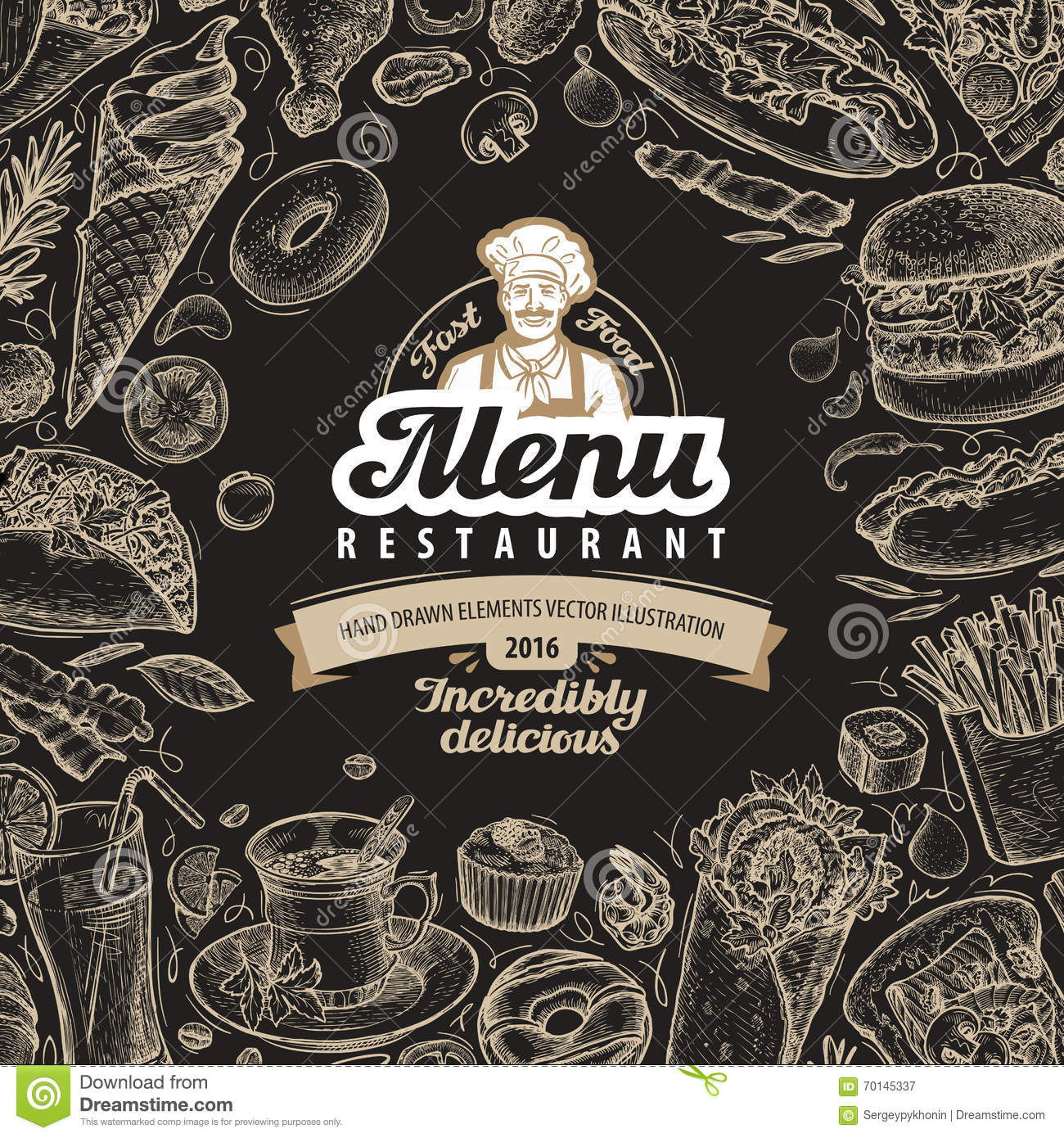 vector vintage sketch fast food illustration. design template menu