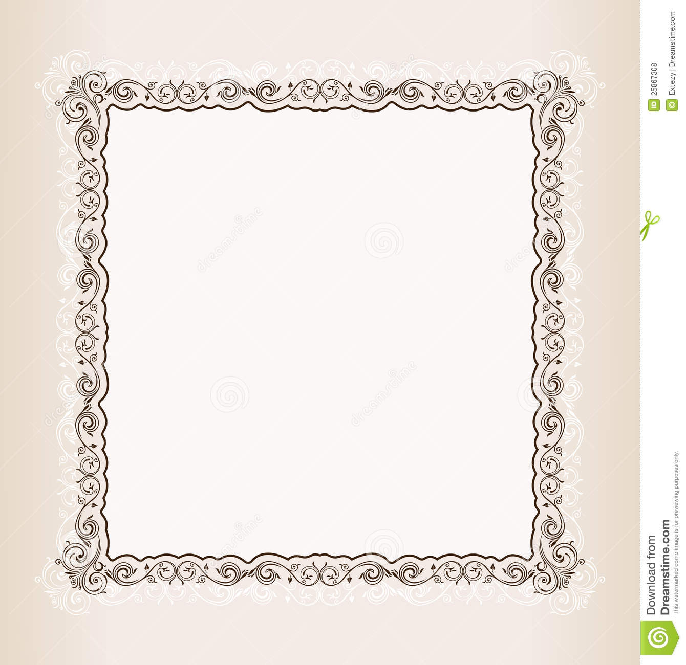 Vector Vintage Square Frame Retro Pattern Ornament Royalty