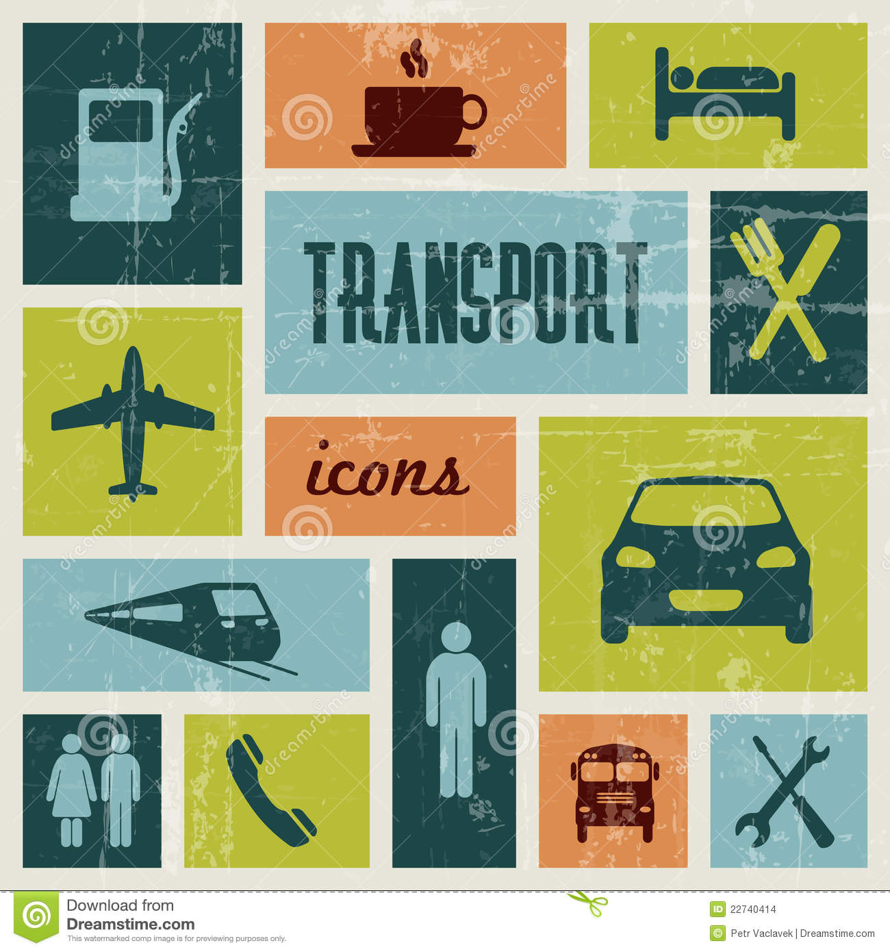 Vector vintage transport poster stock images image 22740414 - Poster adhesif sur mesure ...