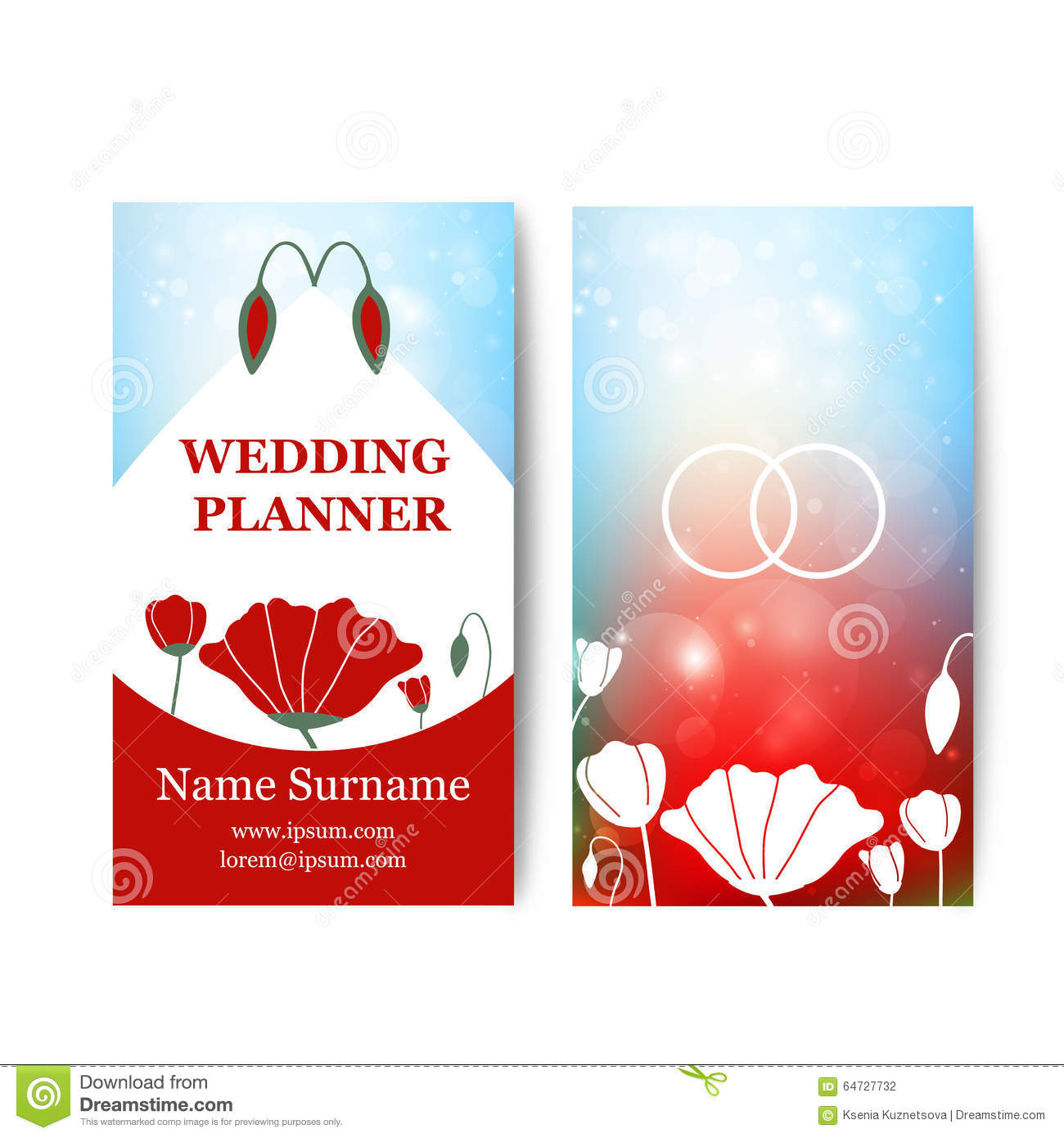 Wedding Planner Business Card Stock Vector - Image: 72196488