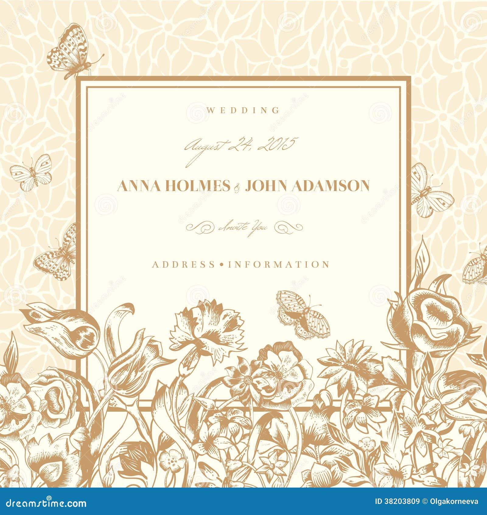wedding card with a light beige vintage background cartoon vector