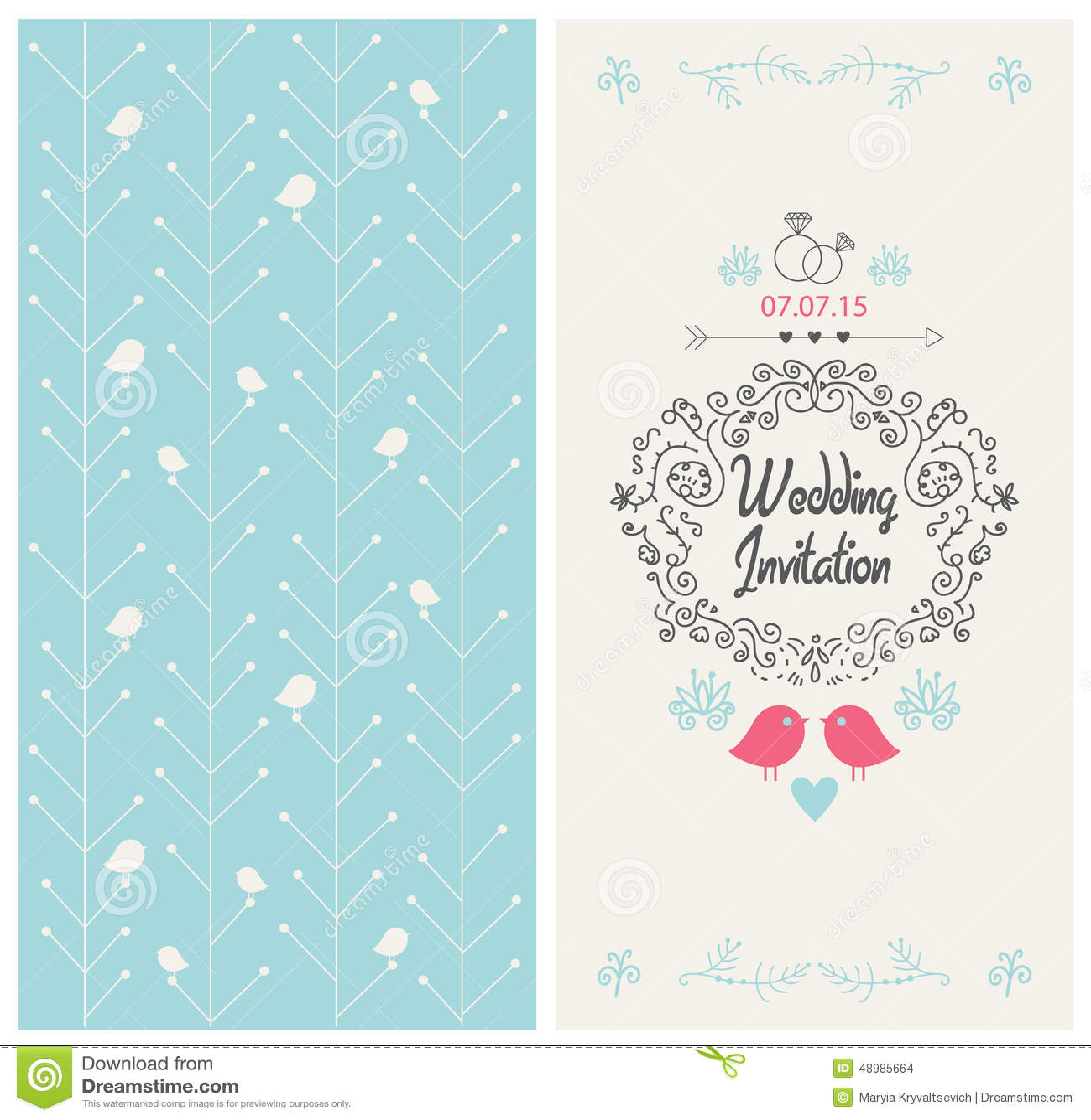 Vector Vintage Wedding Invitation Design Card Stock Vector ...