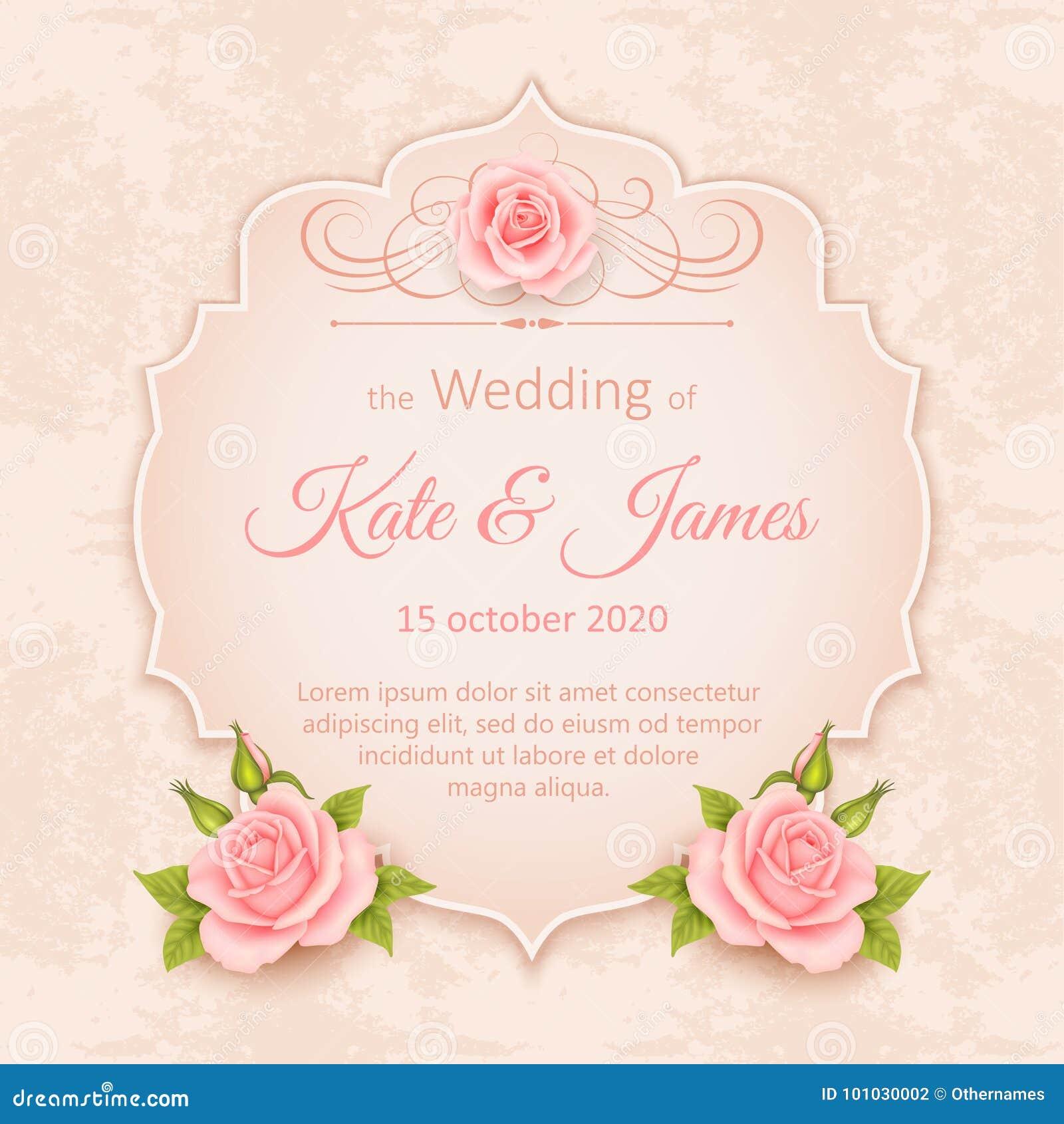 vector vintage wedding invitation with roses stock vector illustration of elegant love 101030002 dreamstime com