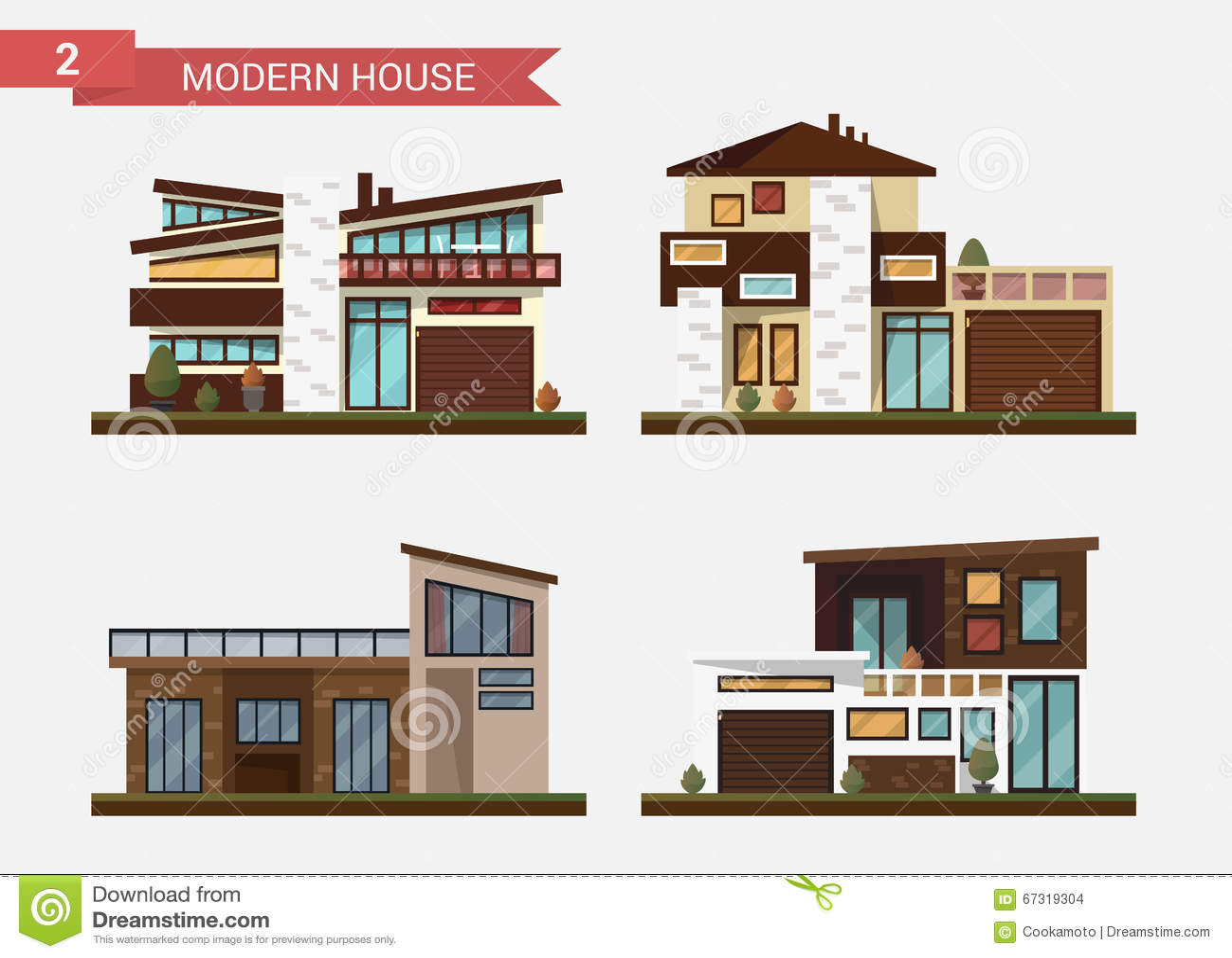Vector vlak illustratie traditioneel en modern huis Dit is dossier van EPS10-formaat De bouw van het bureau Privé bestrating, bin