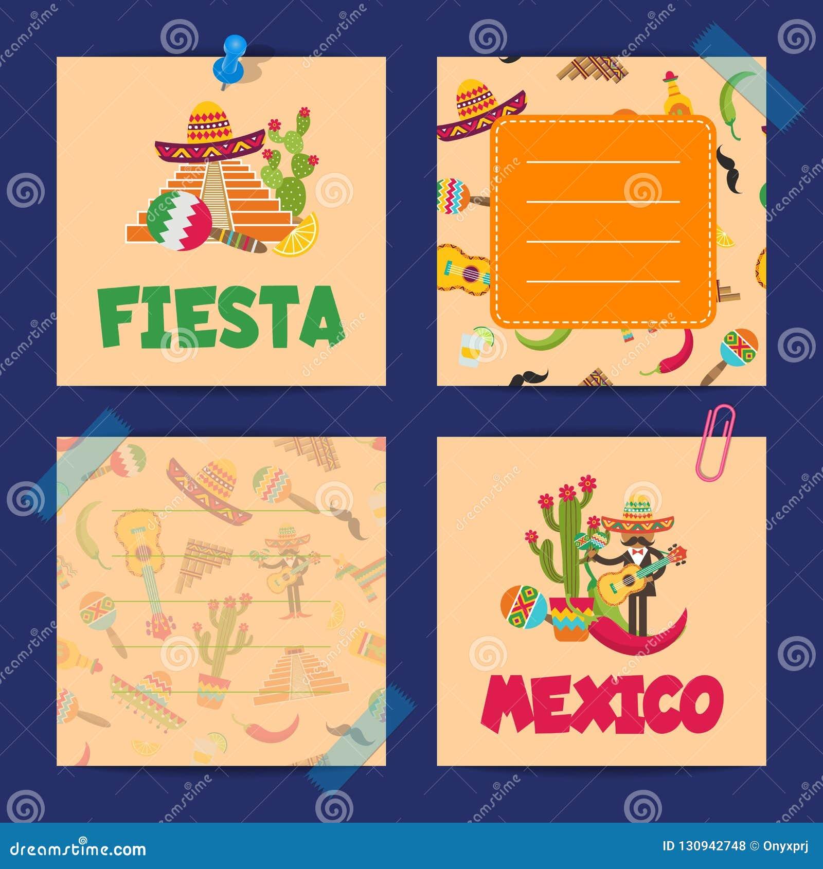 Vector vlakke de notakaarten van Mexico van reeks