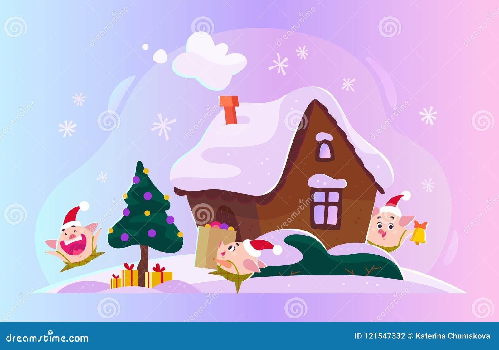 Vector vlakke Kerstmisillustratie met de wintersamenstelling - spar met giftdozen, gemberhuis op sneeuwheuvels en grappige leuk