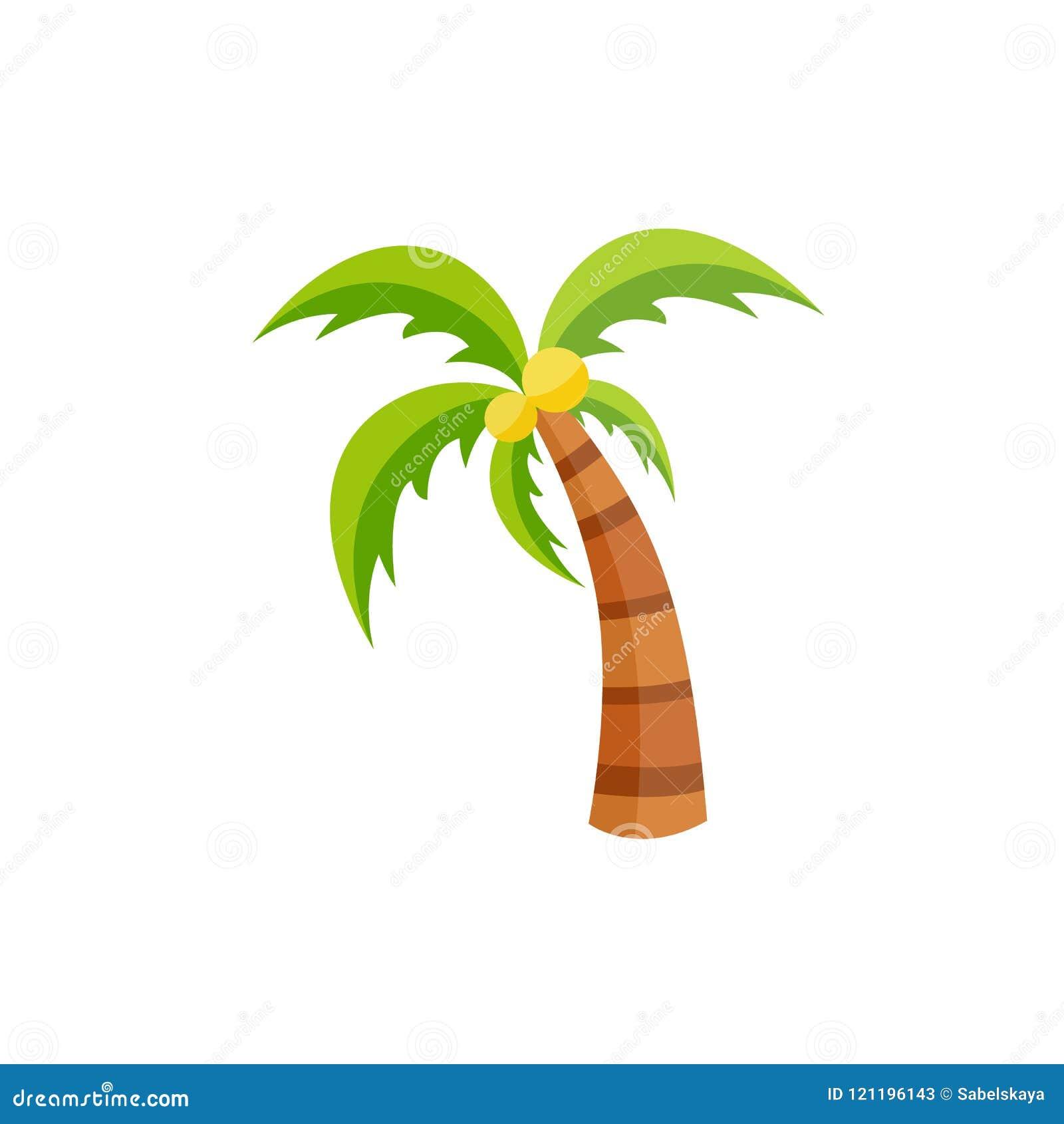 Vector vlakke palm met geïsoleerd kokosnotenpictogram