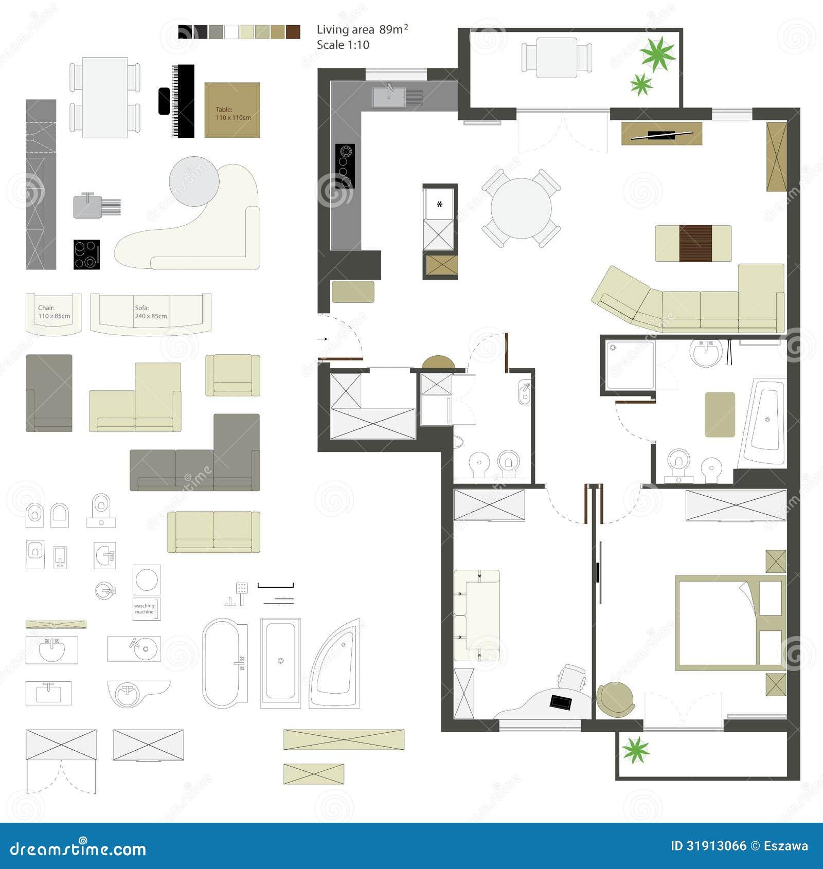 Vector vlakke projectie met meubilair reeks schaal royalty vrije stock afbeelding afbeelding - Bed met schaal ...