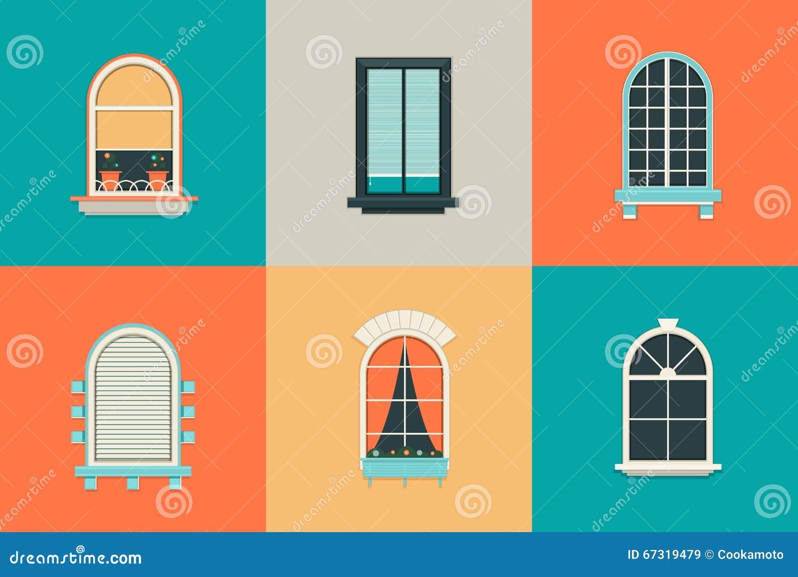vector vlakke reeks pictogrammen voor vensters met ruit rechthoek en ovaal vormglas balkon met gordijnen
