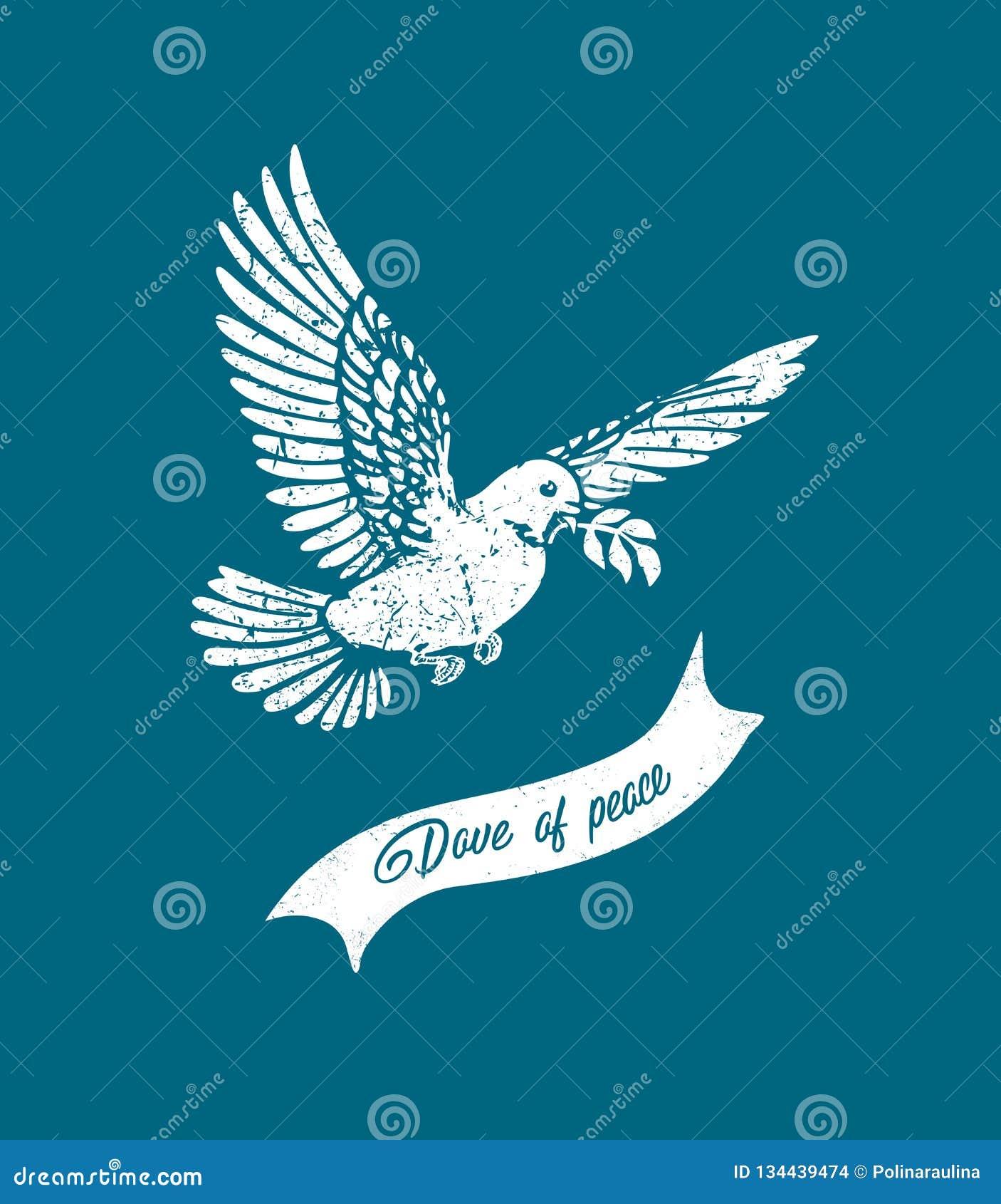 Vector vliegende grunge duif Wit duifsilhouet