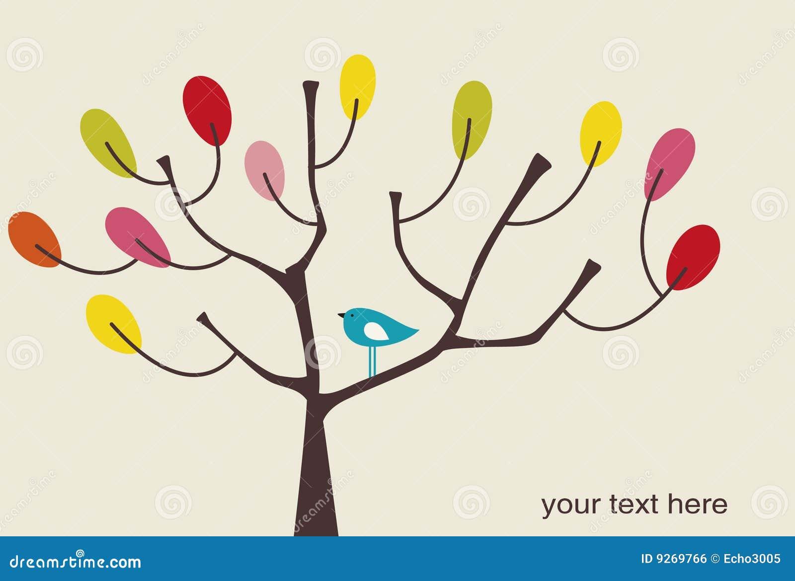 Vector vogel en boom