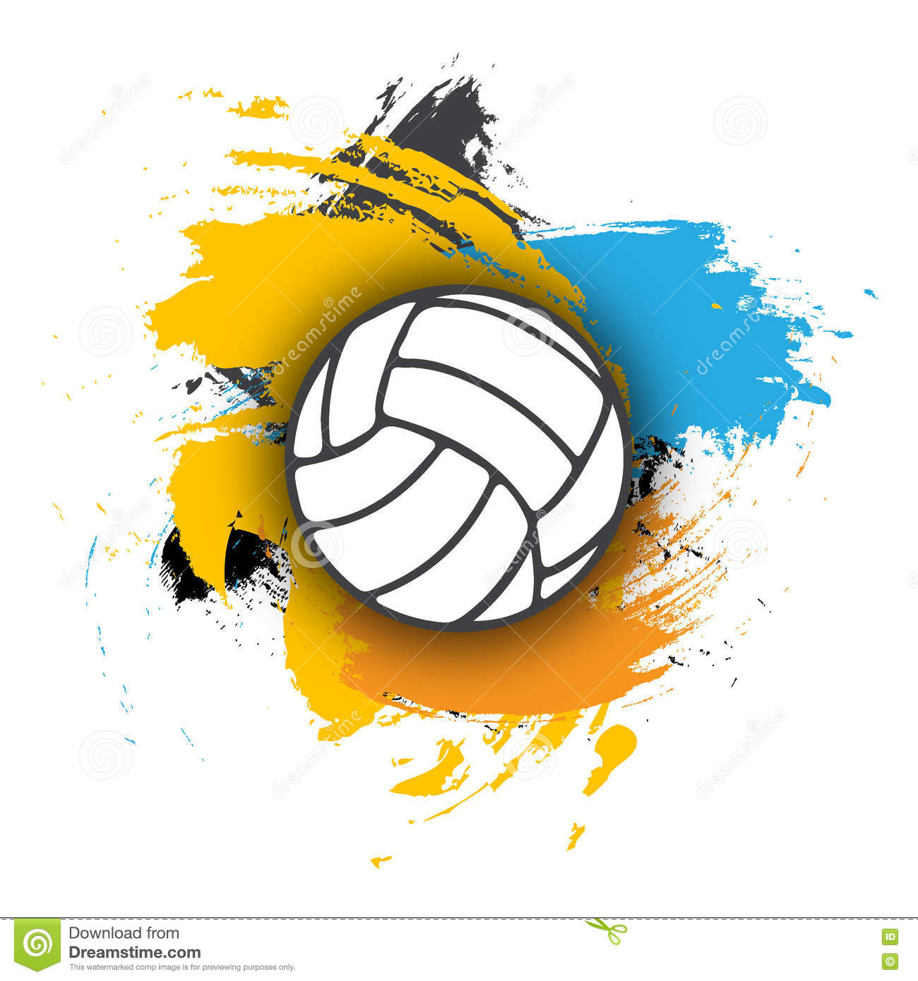 Vector Volleyball Logo On The Background Of Multi-colored ...