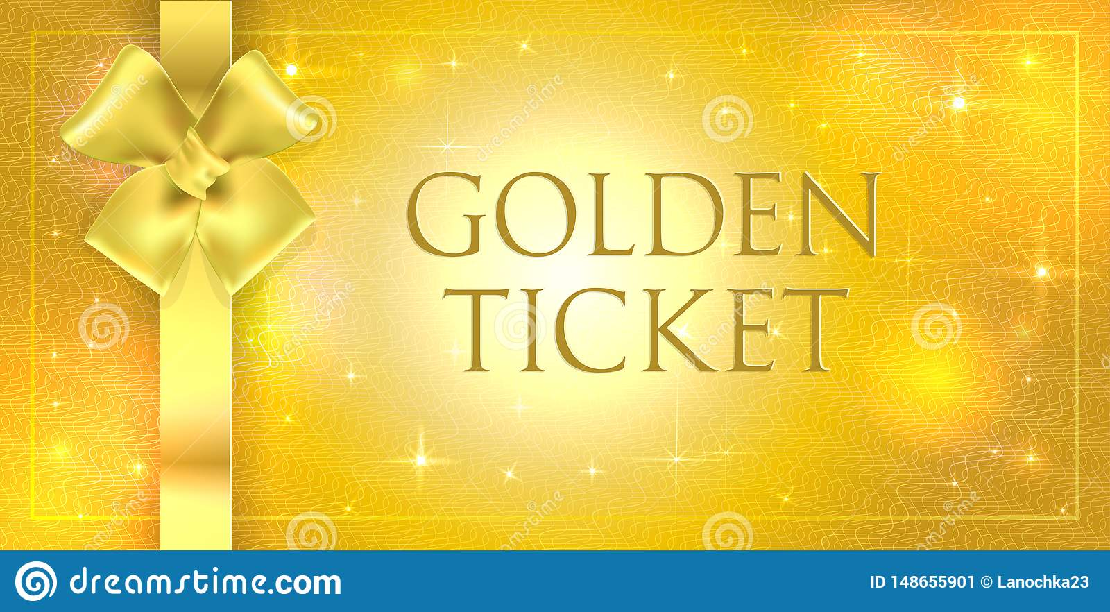 Vector volume Golden glitter background with gold silk double bow and ribbon. Gold ticket with star gloss shining with guilloche