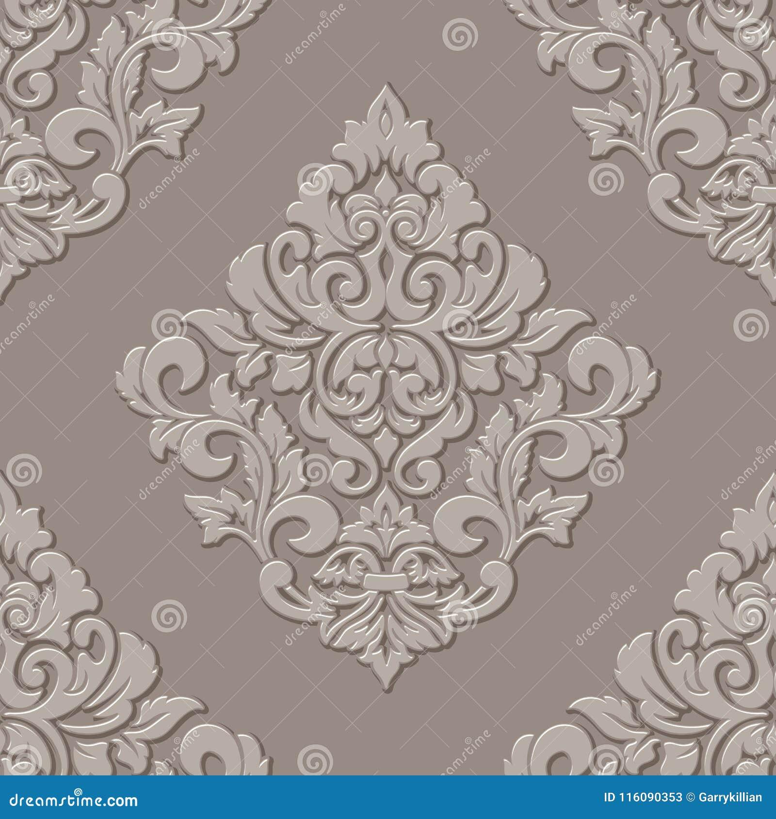 Vector Volumetric Damask Seamless Pattern Element Elegant Luxury