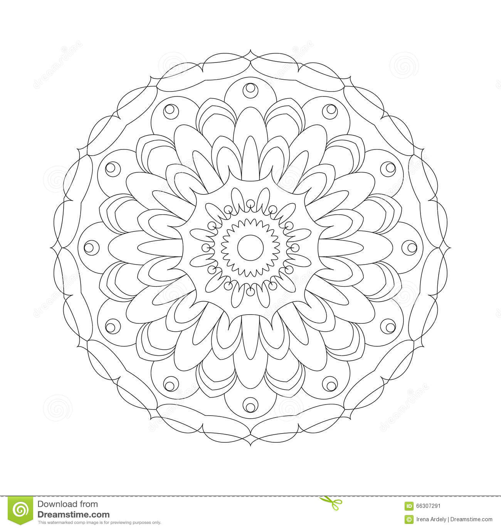 Vector volwassen kleurende zwart-witte mandala abstracte bloem van het boek cirkelpatroon - bloemenachtergrond
