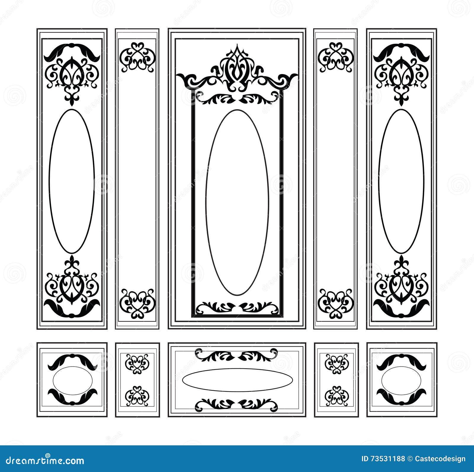 Vector wainscoting decorative damask ornamented frames for walls vector wainscoting decorative damask ornamented frames for walls or backgrounds jeuxipadfo Gallery