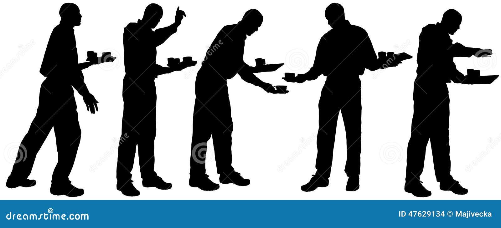 vector waiter silhouette stock vector image 47629134 waiter clipart images water clip art for kids