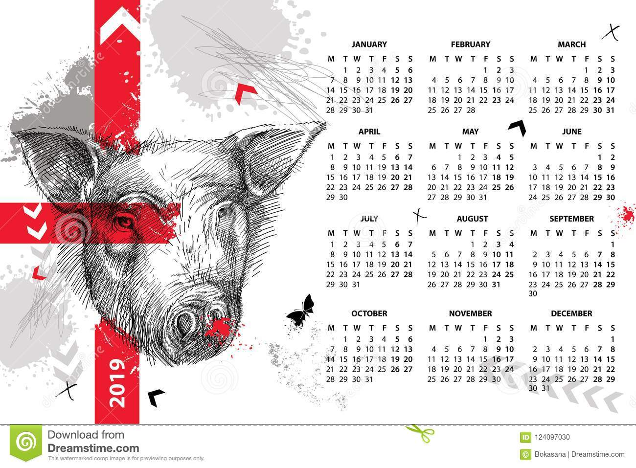 vector wall calendar for 2019 year in trash polka with sketch head of pig in black
