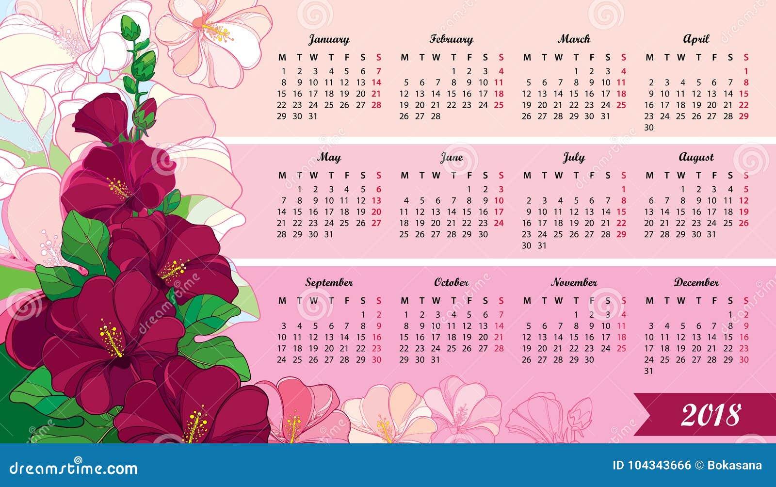 Vector Wandkalender Für 2018 Jähriges Mit Entwurf Stockroseblume Und