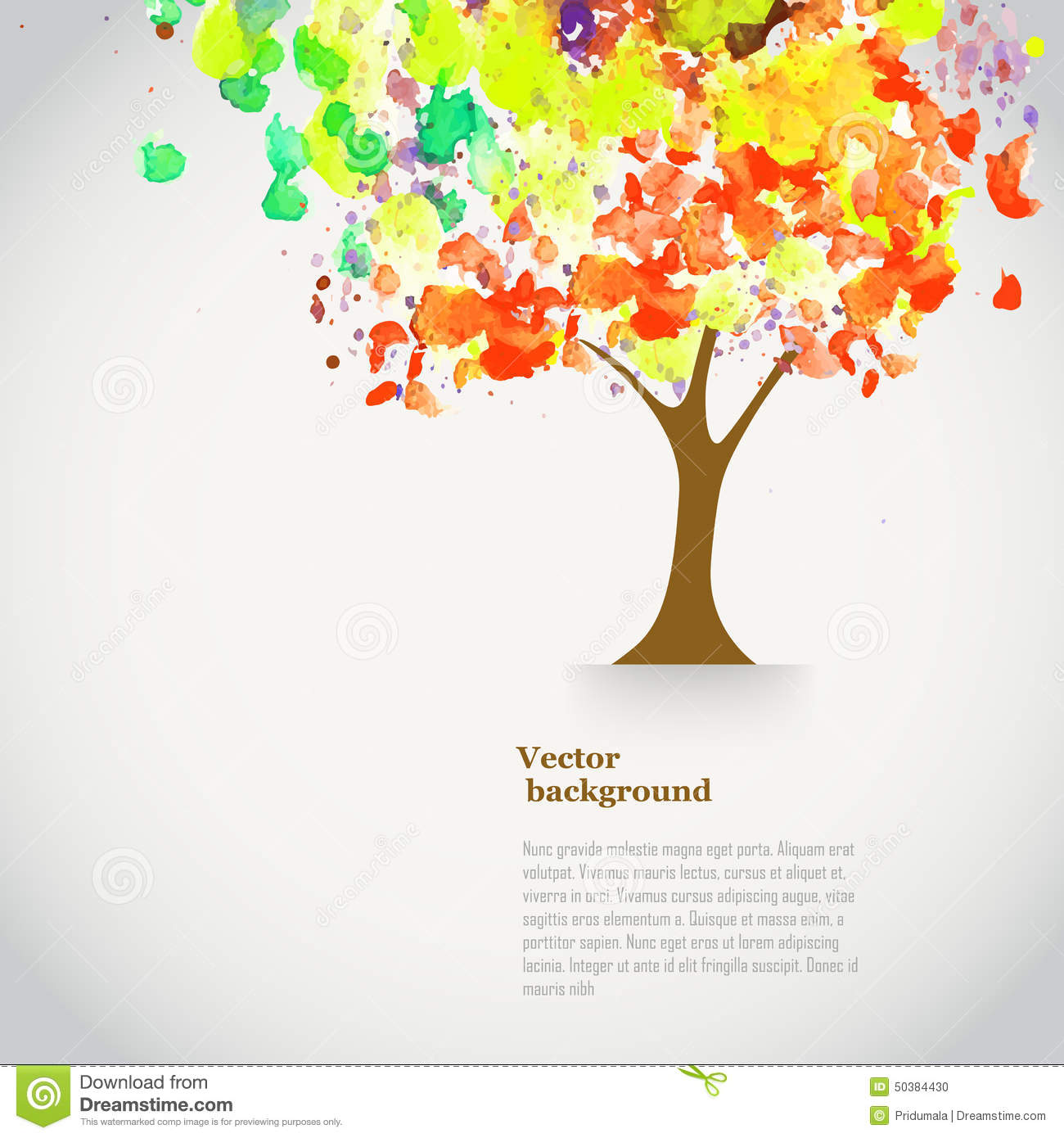 Vector Watercolor Autumn Tree With Spray Paint Autumnal