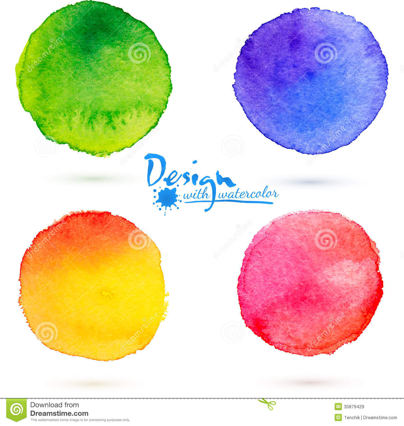 Circle Frames With Colorful Watercolor Splatters