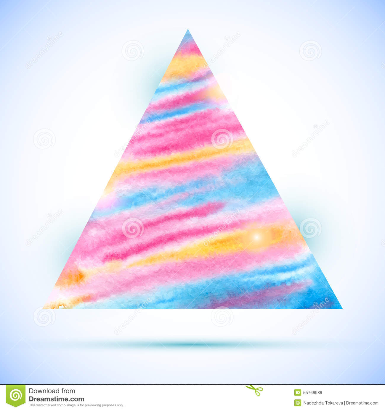 Vector Watercolor Colorful Triangle Shape With Shadow Stock