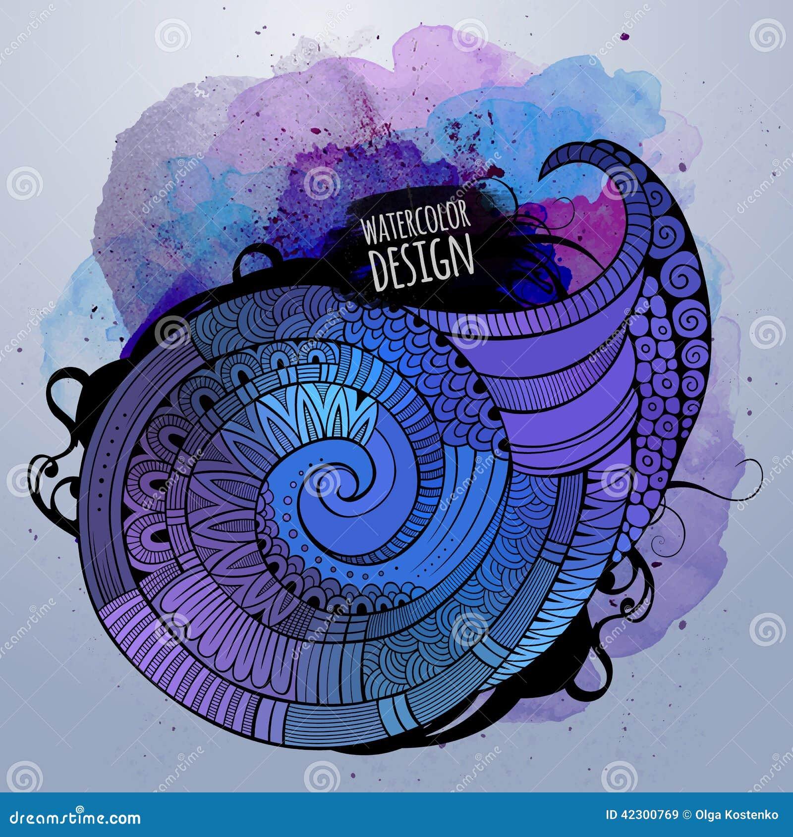 Painter Decorator Sign Stock Vector: Vector Watercolor Decorative Spiral Design Stock Vector