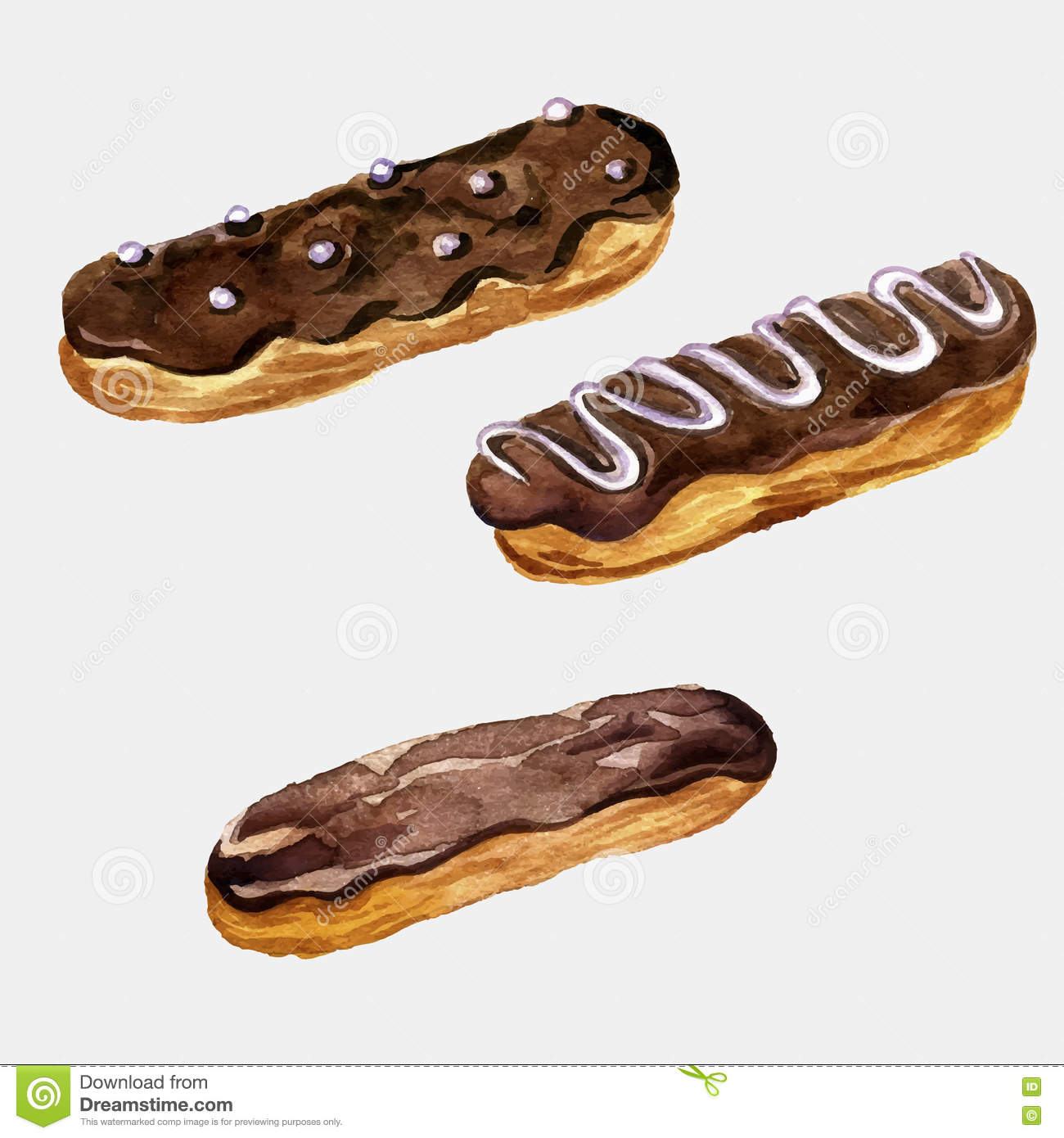 Vector watercolor drawing eclairs