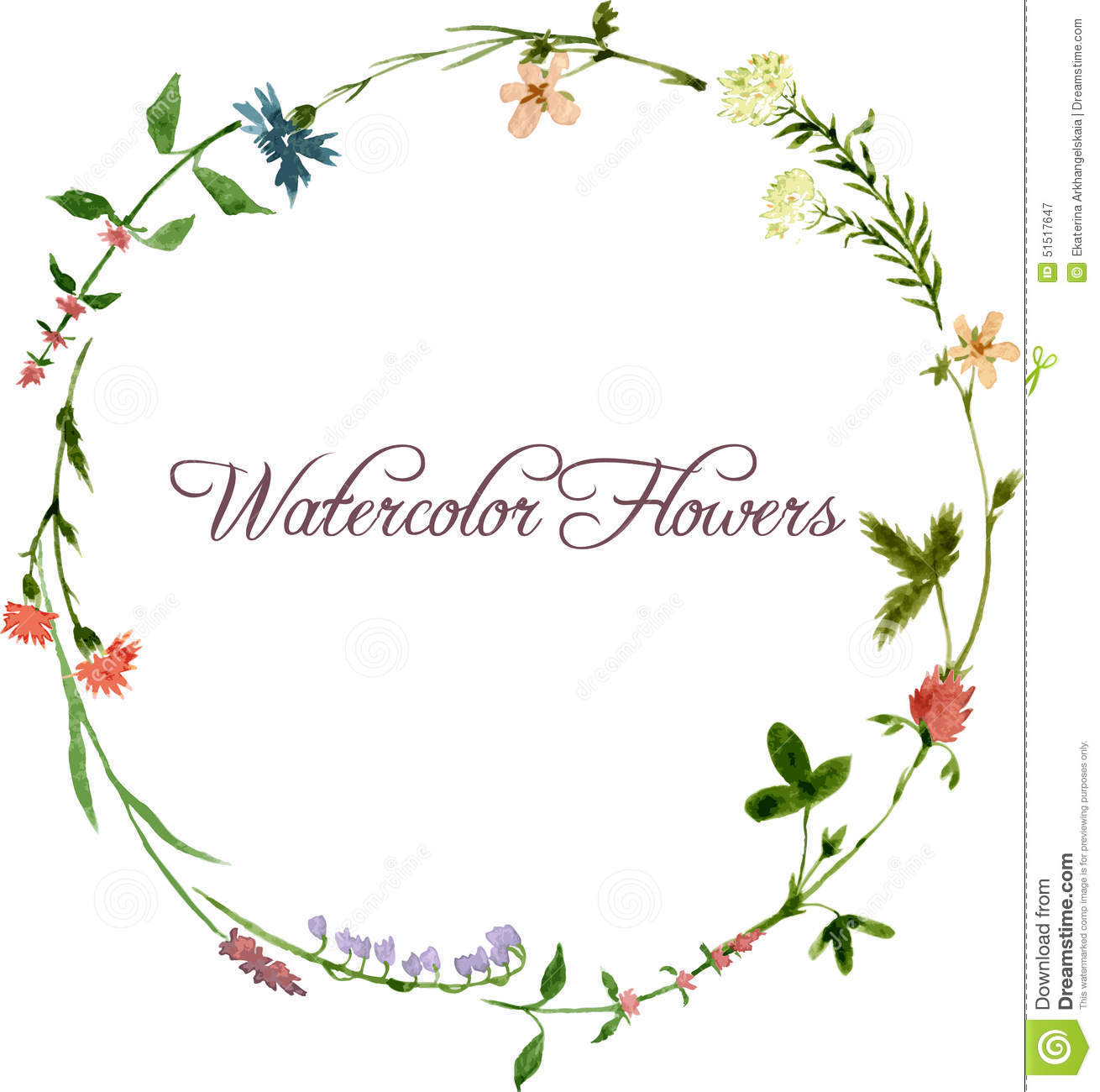 Vector Watercolor Floral Frame Stock Vector - Image: 51517647