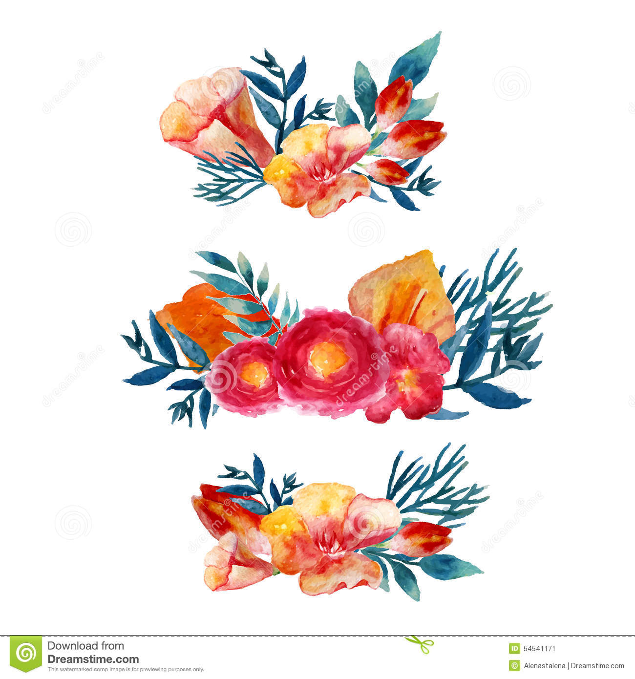 Vector Watercolor Floral Wreath Set With Vintage Leaves