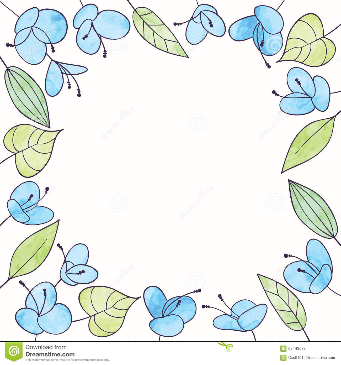 Vector Watercolor Flower Frame Hand Draw Floral Illustration Stock