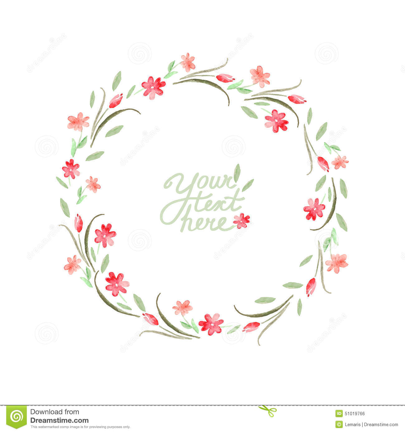 Vector Watercolor Flowers Circle Frame Stock