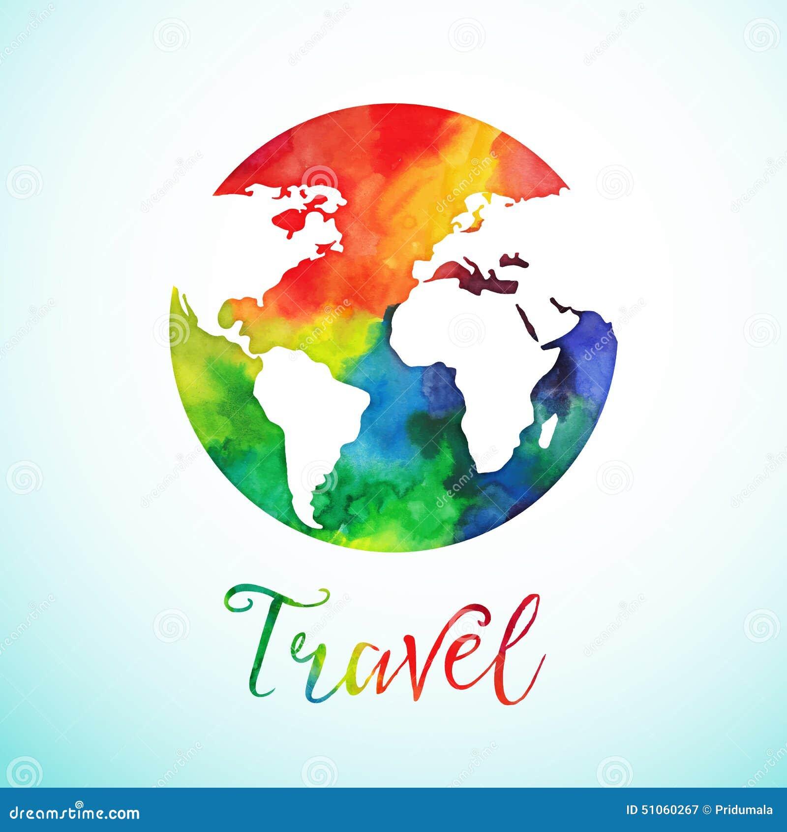 Vector watercolor globe sphere, map design. Travel background calligraphy badge