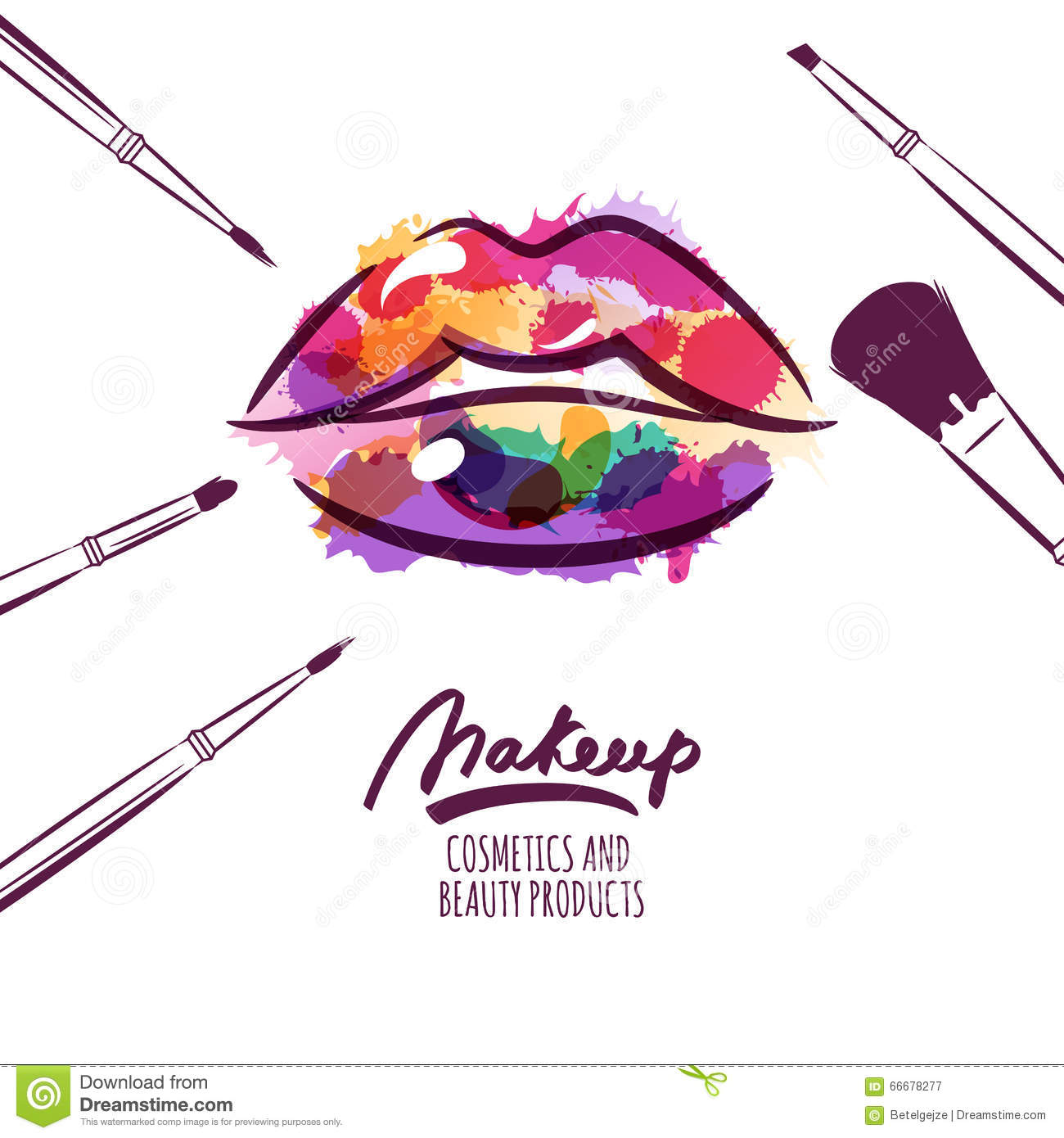 Vector Watercolor Hand Drawn Illustration Of Colorful