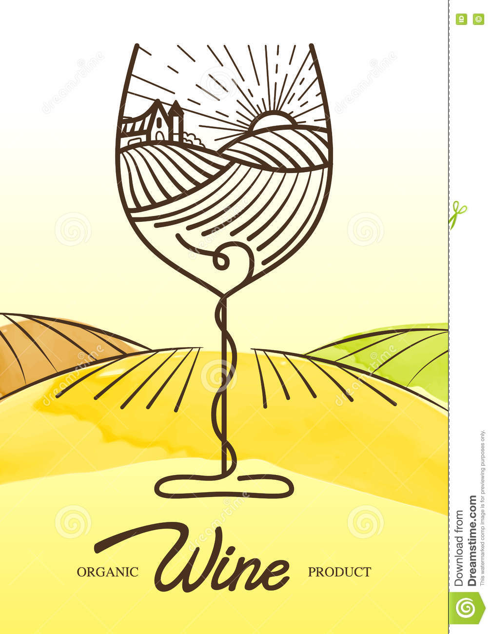 Vector watercolor illustration of vine grape and rural field in wine glass. Concept for organic products, harvest, healthy food