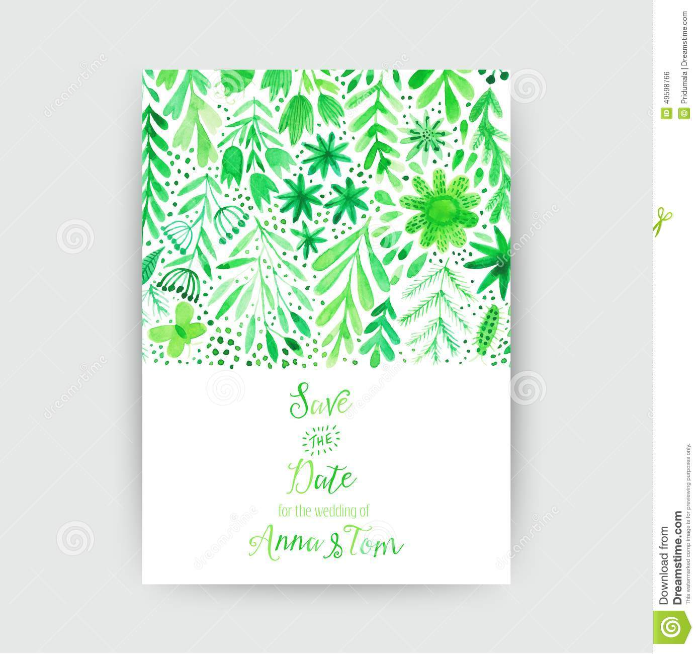 Vector watercolor invitation card with flowers and plants floral download comp m4hsunfo